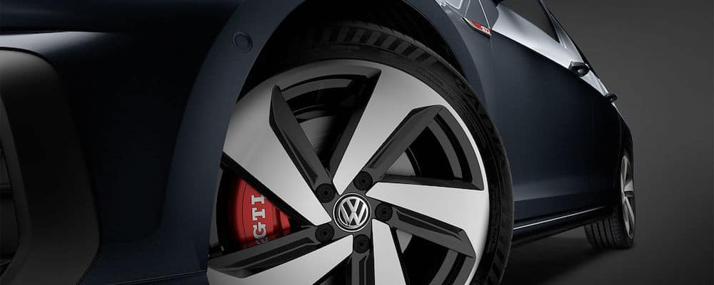 close up of 2018 GTI wheel with performance brakes