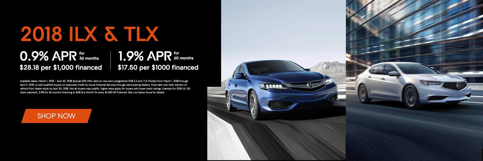 2018 Acura ILX and TLX Offers Banner