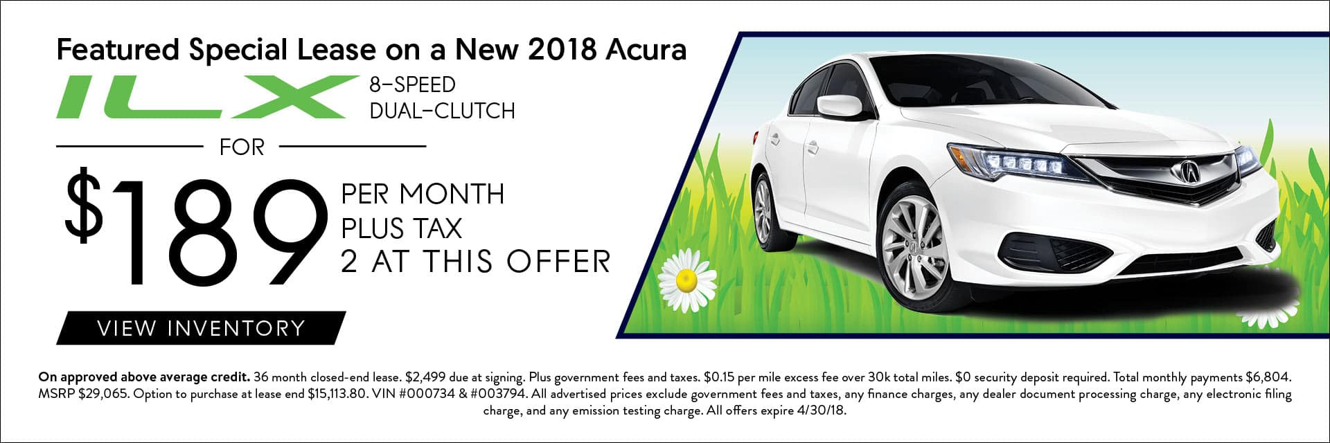 2018 Acura ILX Spring Offers Banner
