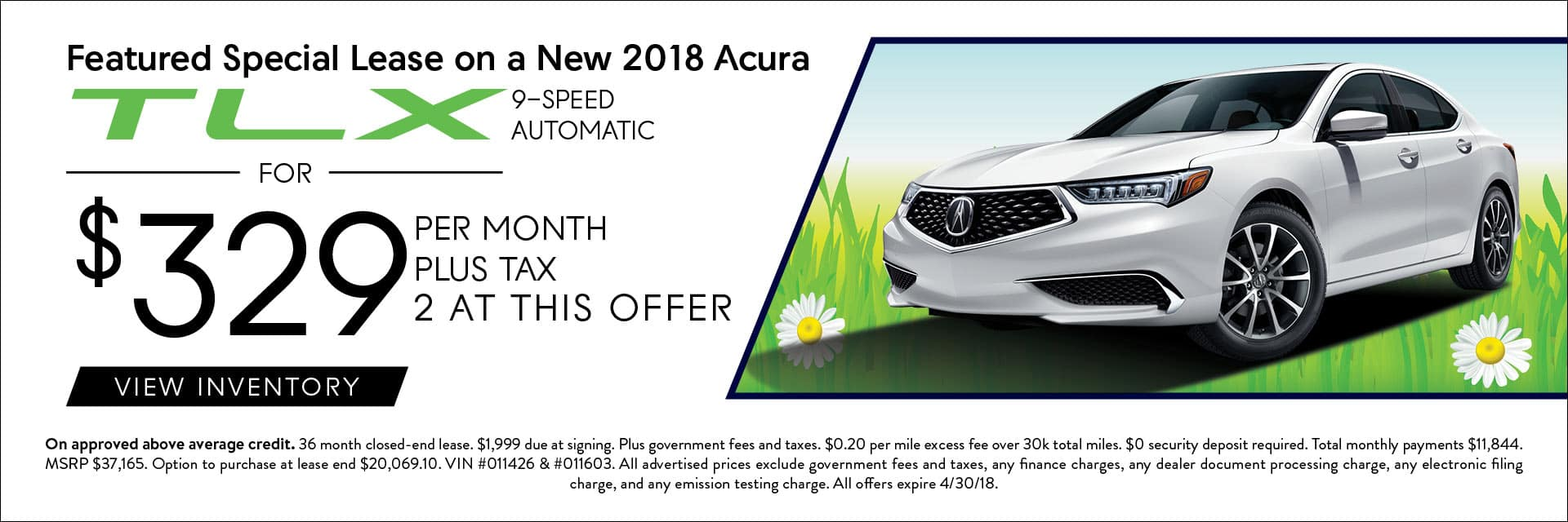 2018 Acura TLX Offers Banner
