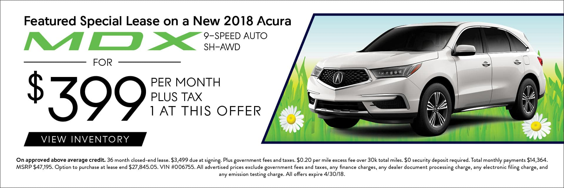 2019 Acura MDX Spring Offers Banner