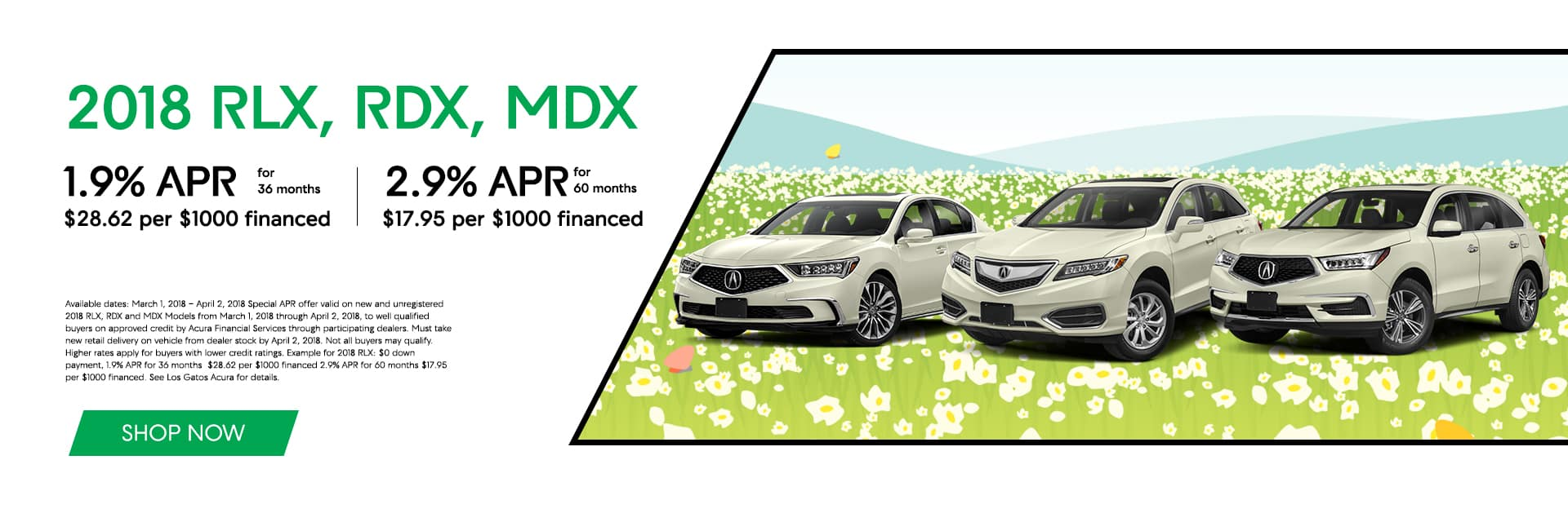 2018 Acura RLX, RDX, MDX Spring Offers Banner
