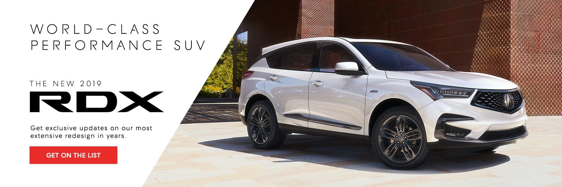 2019 Acura RDX Get on the List Banner