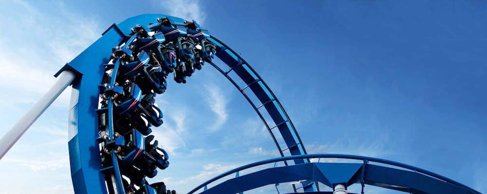Blue roller coaster loop at California's Great America