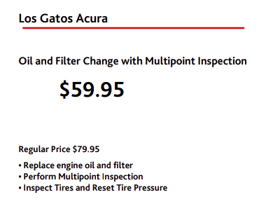 Oil Change Special Los Gatos Acura