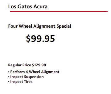 Four Wheel Alignment Special Los Gatos Acura