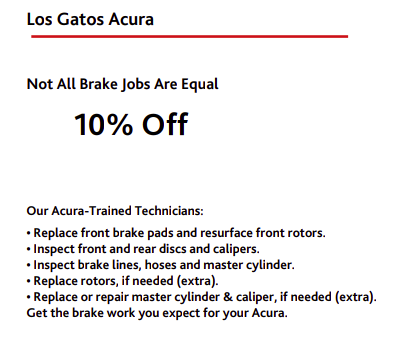 Discount on Brake Jobs Los Gatos Acura