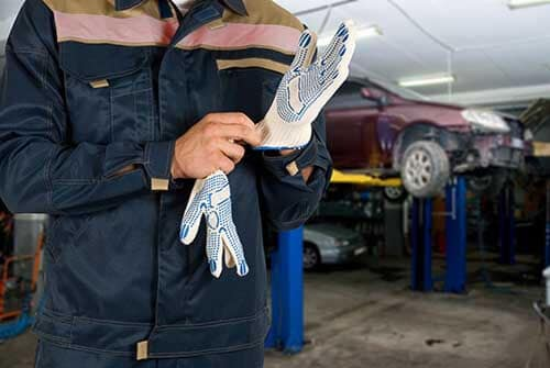 Service Tech With Gloves
