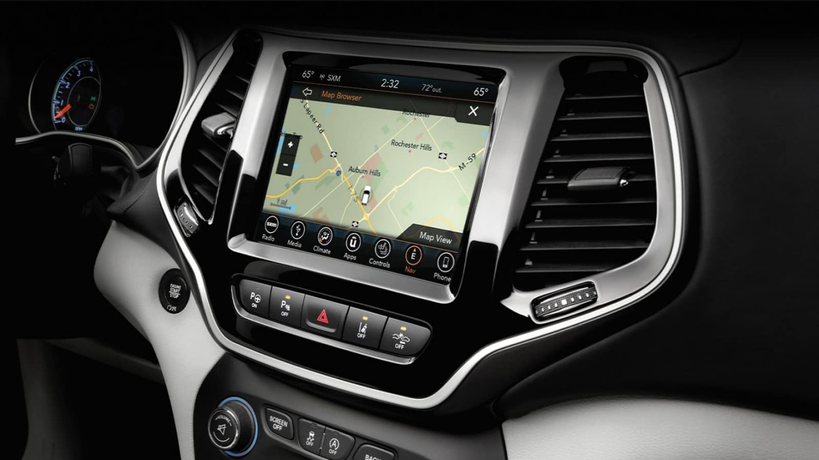 Touchscreen display inside the 2020 Jeep Cherokee