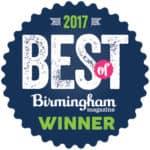 Best of Birmingham 2017 Winner accolade