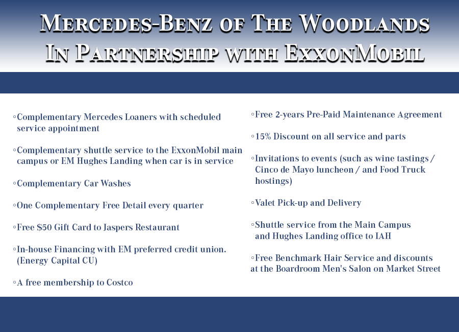 Exxonmobil exclusive partnership mercedes benz of the for Mercedes benz of the woodlands