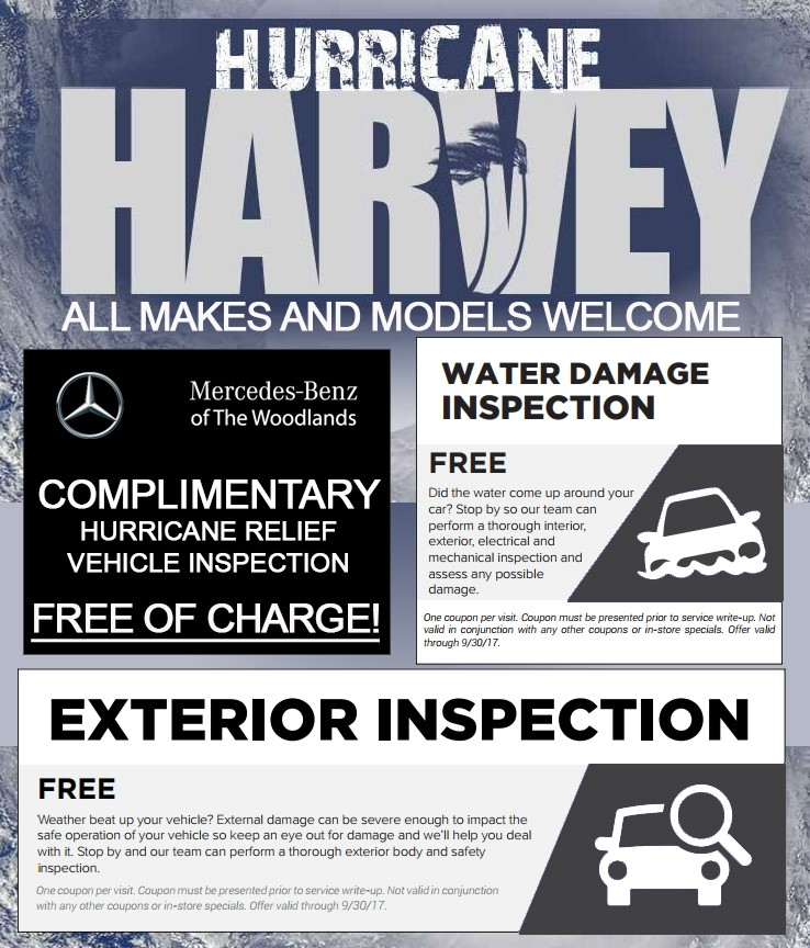Hurricane Harvey Relief Efforts MercedesBenz Of The Woodlands - Mercedes benz service coupons