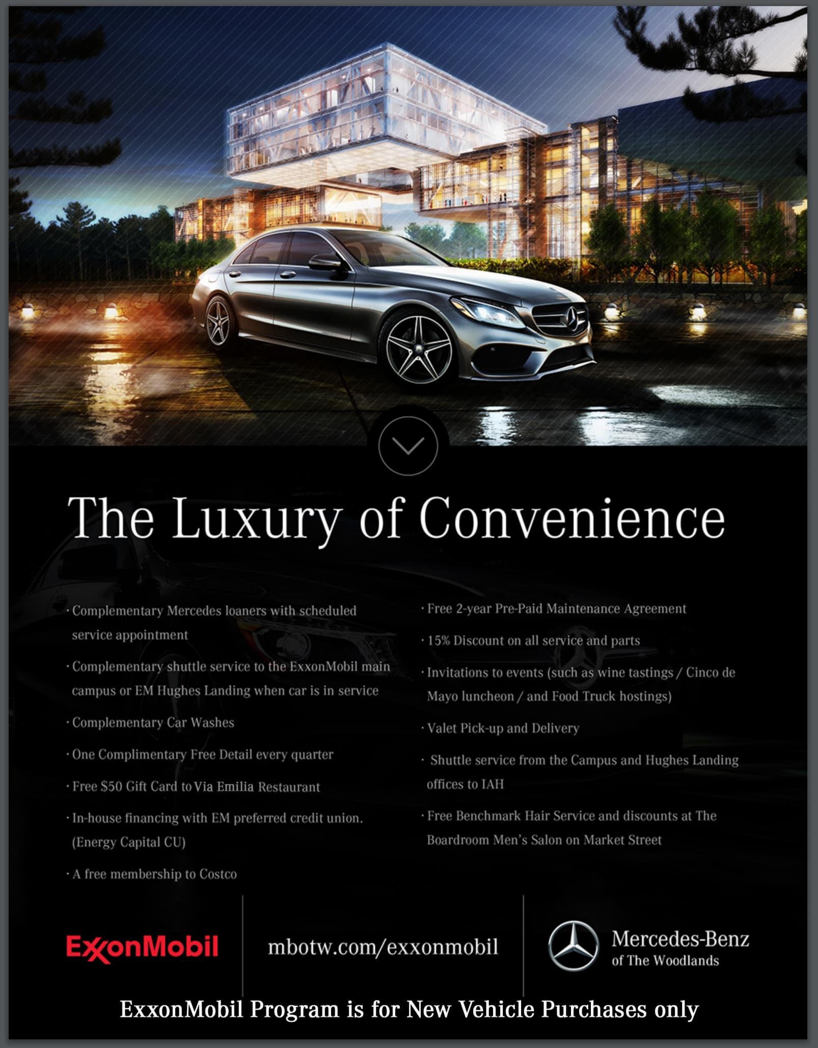 Discount Mercedes Parts >> Exxonmobil Exclusive Partnership Mercedes Benz Of The Woodlands