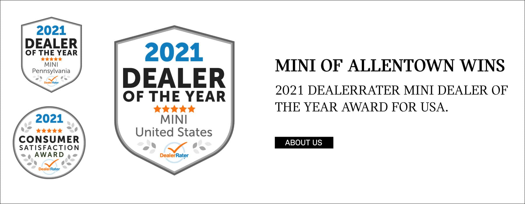 MINI OF ALLENTOWN WINS. 2021 DEALERRATER MINI DEALER OF THE YEAR AWARD FOR USA