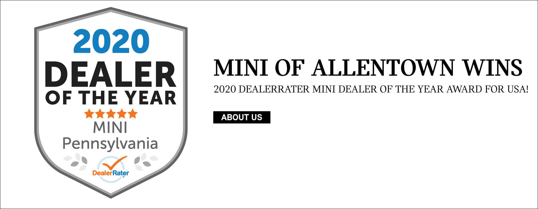 MINI of Allentown Wins 2020 Dealerrater MINI dealer of the year award for USA!