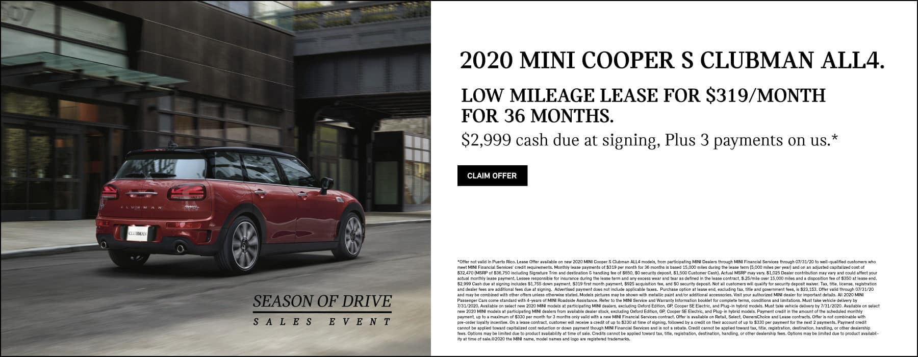 MINI COOPER S CLUBMAN ALL4 $319/MONTH FOR 36 MONTHS