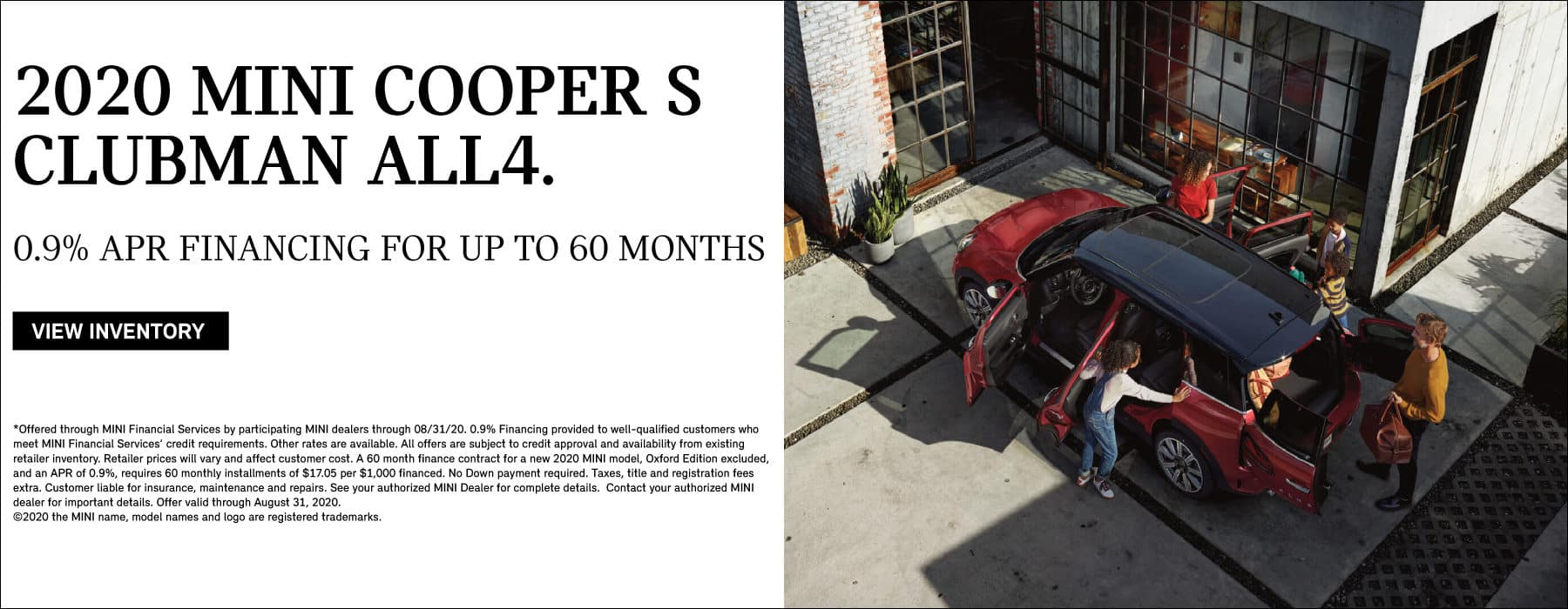 MINI COOPER S CLUBMAN ALL4 0.9% APR FINANCING FOR UP TO 60 MONTHS