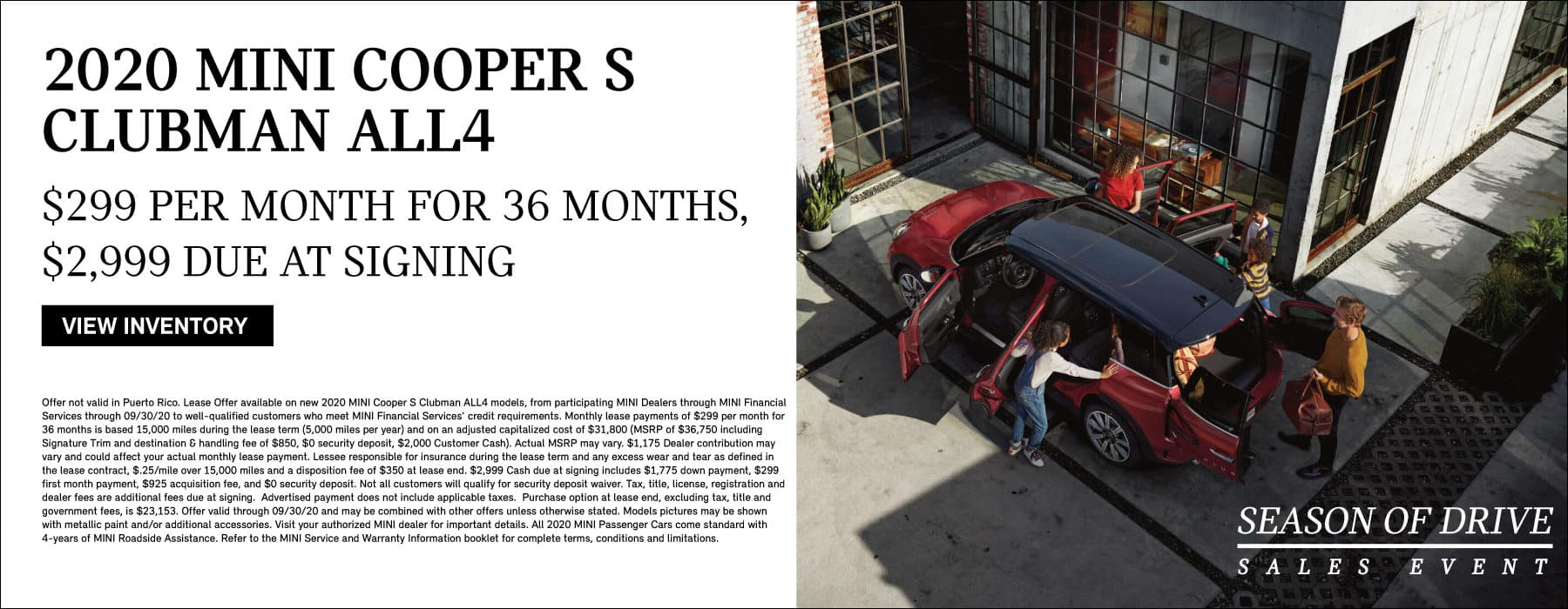 2020 MINI COOPER S CLUBMAN ALL4. LEASE FOR $299 PER MONTH, $2999 DUE AT SIGNING