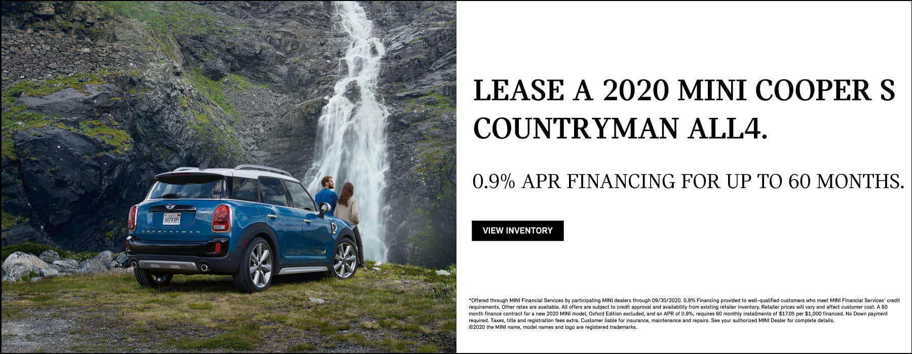 LEASE A 2020 MINI COOPER S COUNTRYMAN ALL4 . 0.9% FINANCING FOR UP TO 60 MONTHS