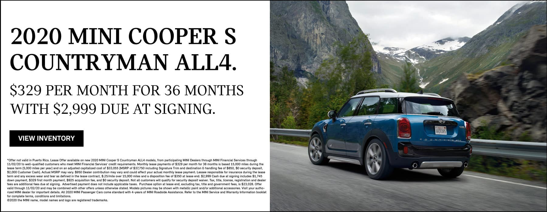MINI COOPER S COUNTRYMAN ALL4. $329 per month for 36 months