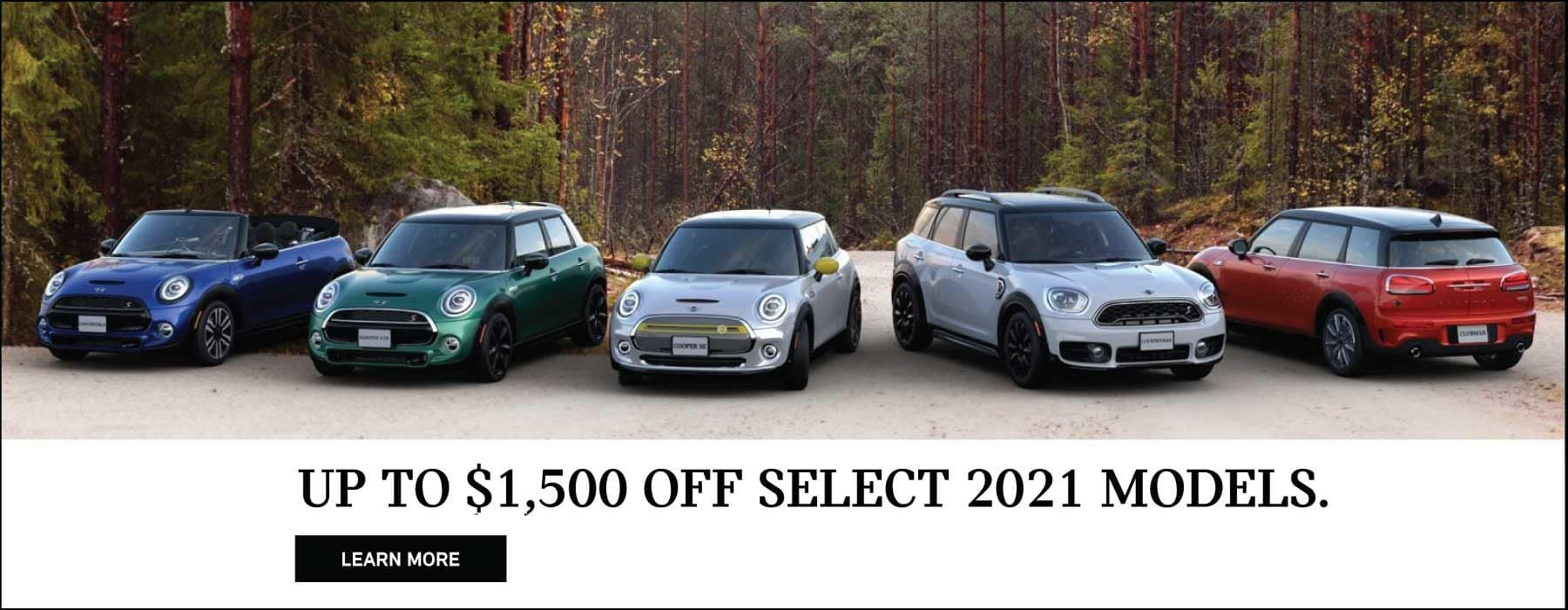 UP TO $1,500 OFF SELECT 2021 MODELS. LEARN MORE BUTTON.