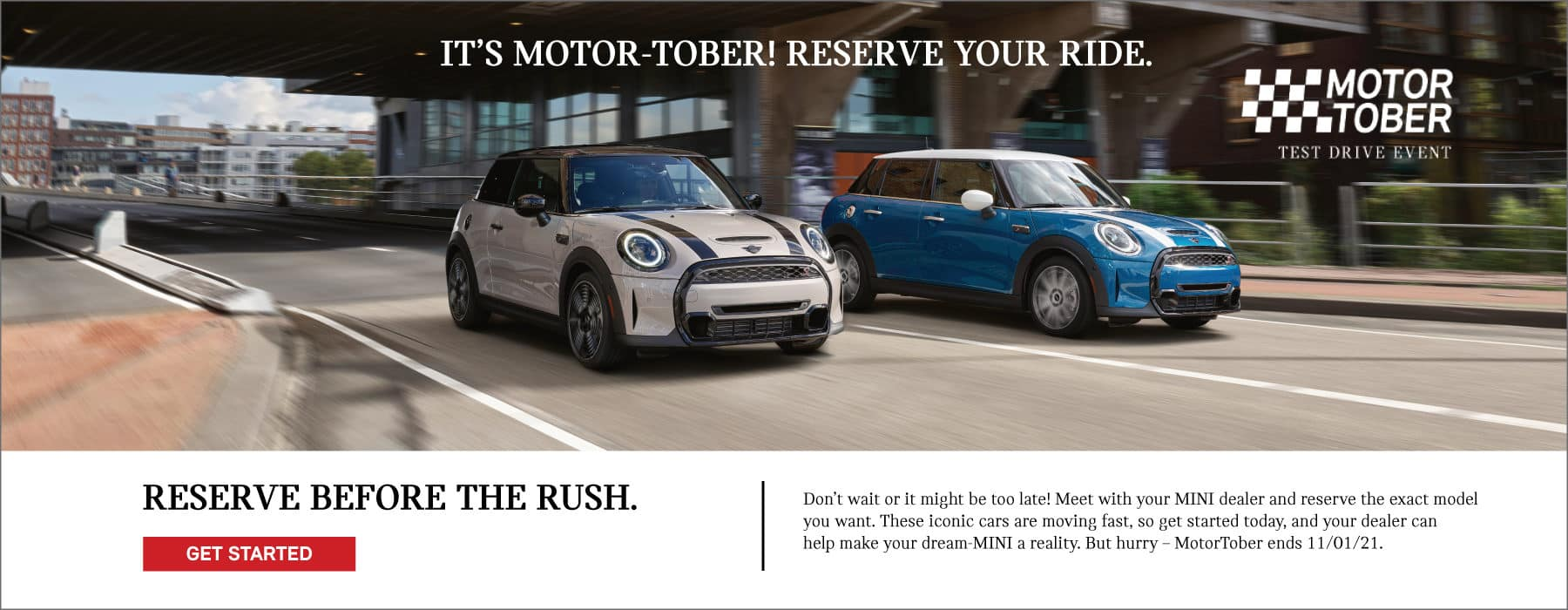 IT'S MOTOR-TOBER! RESERVE YOUR RIDE BEFORE THE RUSH. CLICK TO GET STARTED