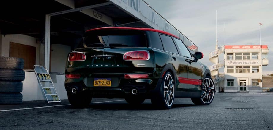Green MINI Clubman with Red Stripes