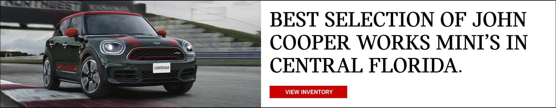 Best selection of John Cooper works MINI's in Central Florida. View Inventory button. MINI John Cooper works Clubman driving on race track.