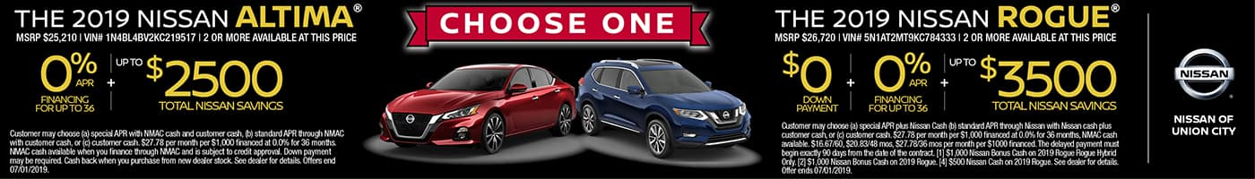 2019 Nissan Altima and Rogue