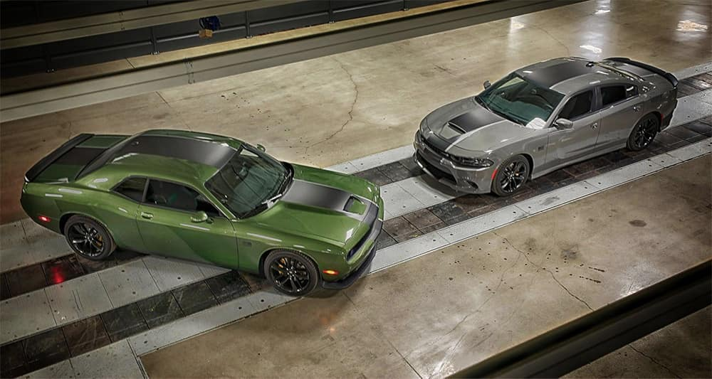 2019 dodge challenger green and silver