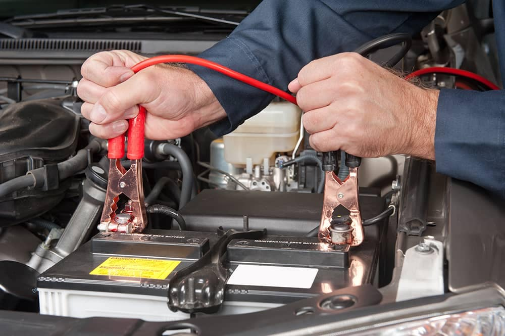 Attaching Jumper Cables to a Battery