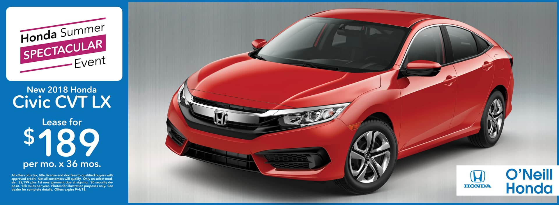 Honda Civic August Lease Offer