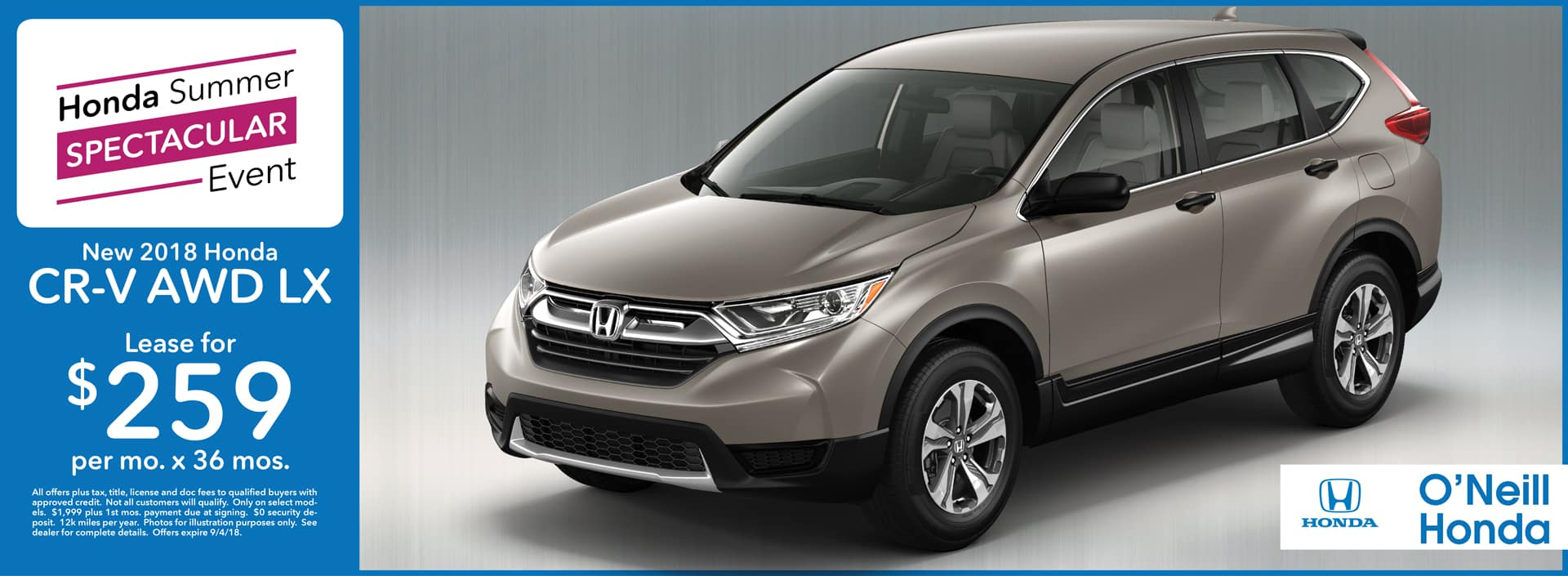 2018 Honda CR V August Lease