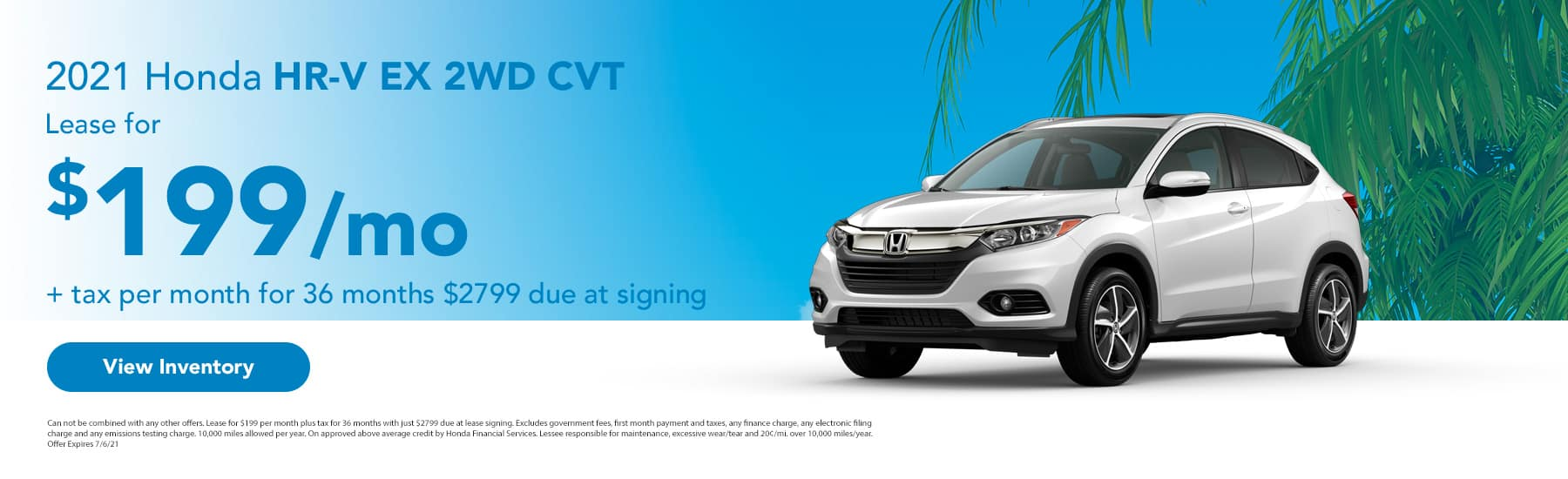 2021 Honda HR-V EX 2WD CVT Lease for $199 + tax per month for 36 month $2799 due at signing