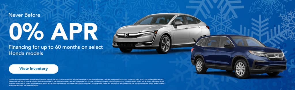 0% APR Financing for up to 60 Months On Select Honda Models