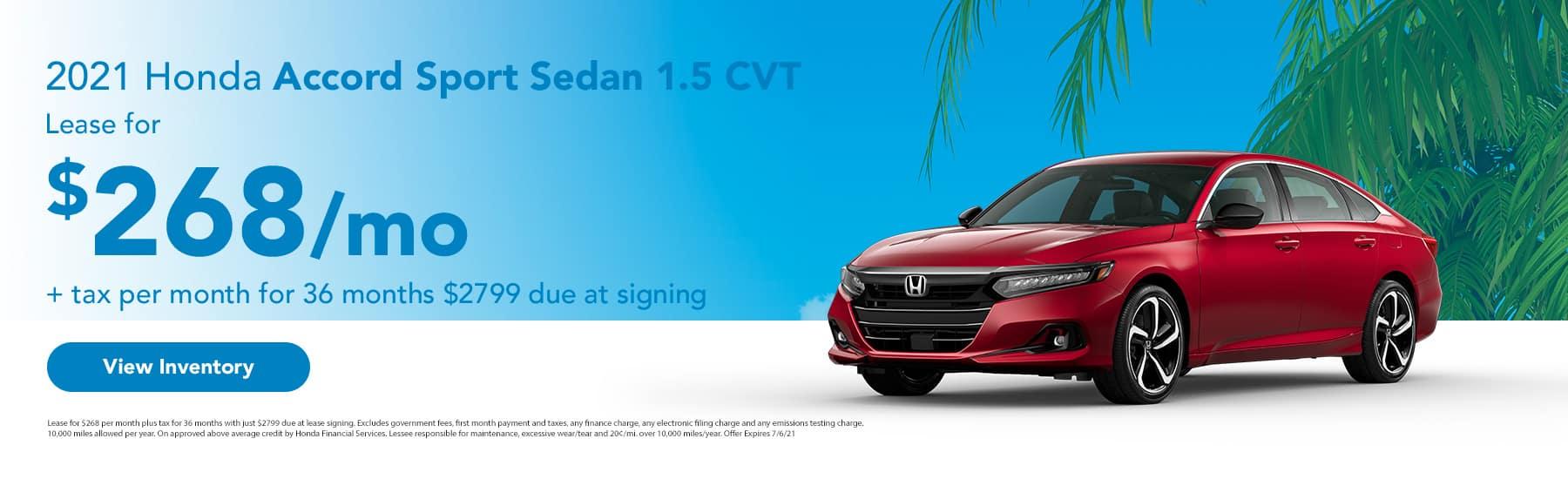 2021 Honda Accord Sport Sedan 1.5 CVT Lease for $268 + tax per month for 36 months
