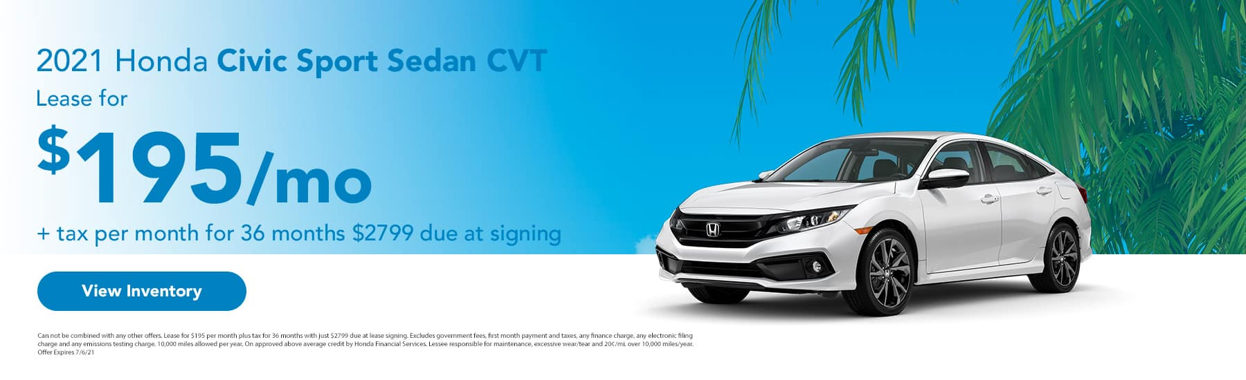 2021 Honda Civic Sport Sedan CVT Lease for $195 + tax per month for 36 months $2799 due at signing