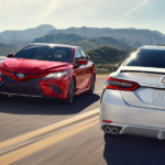 Red and White 2020 Toyota Camry