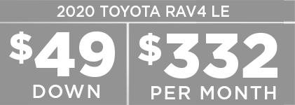 2020 Toyota RAV4 For $49 Down & $332 Per Month.