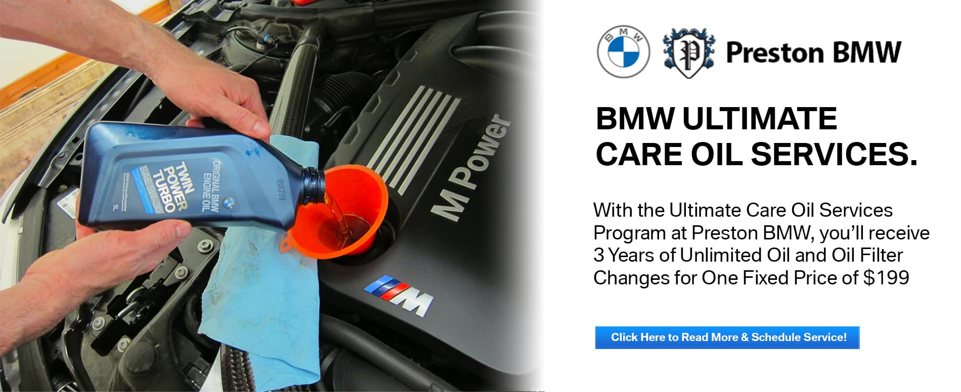 Ultimate Care Oil Service at Preston BMW. Image of a BMW Service professional changing oil in a BMW.