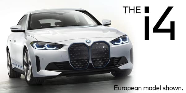 A front view of the new 2022 BMW i4 electric sedan