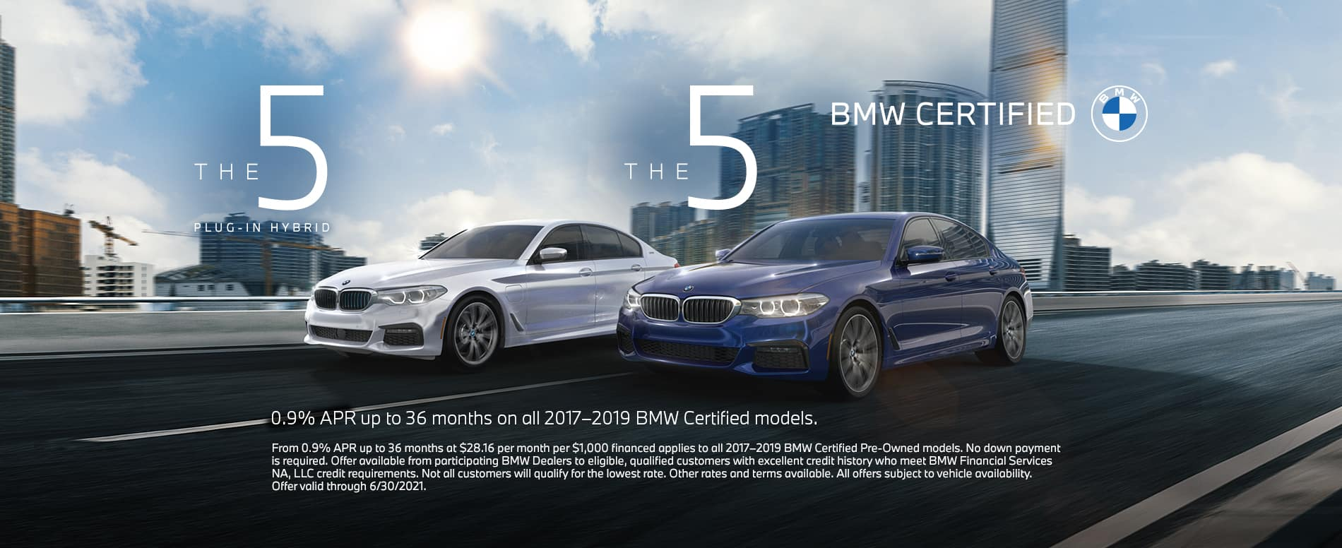White and blue certified bmws on a road. 0.9% APR up to 36 months