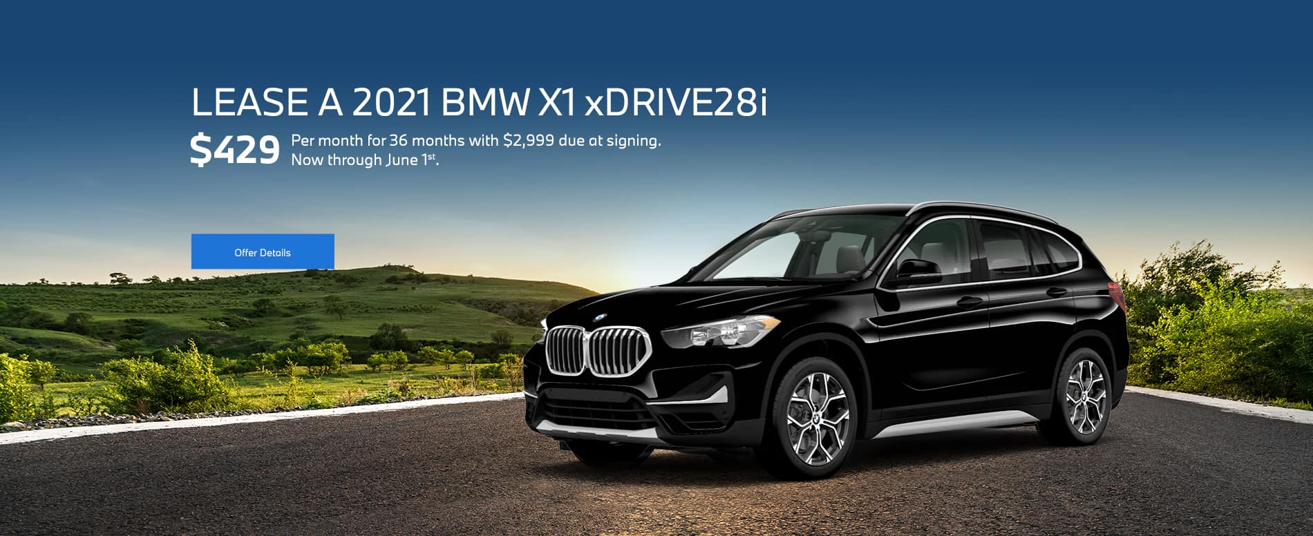 A black new 2021 BMW X1 leasing for $429/month for 36 months with $2,999 due at signing