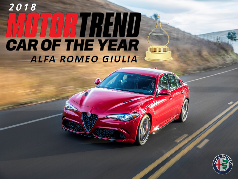 Motor trend named the alfa romeo giulia as its 2018 car of for Motor trend car of the year 2018