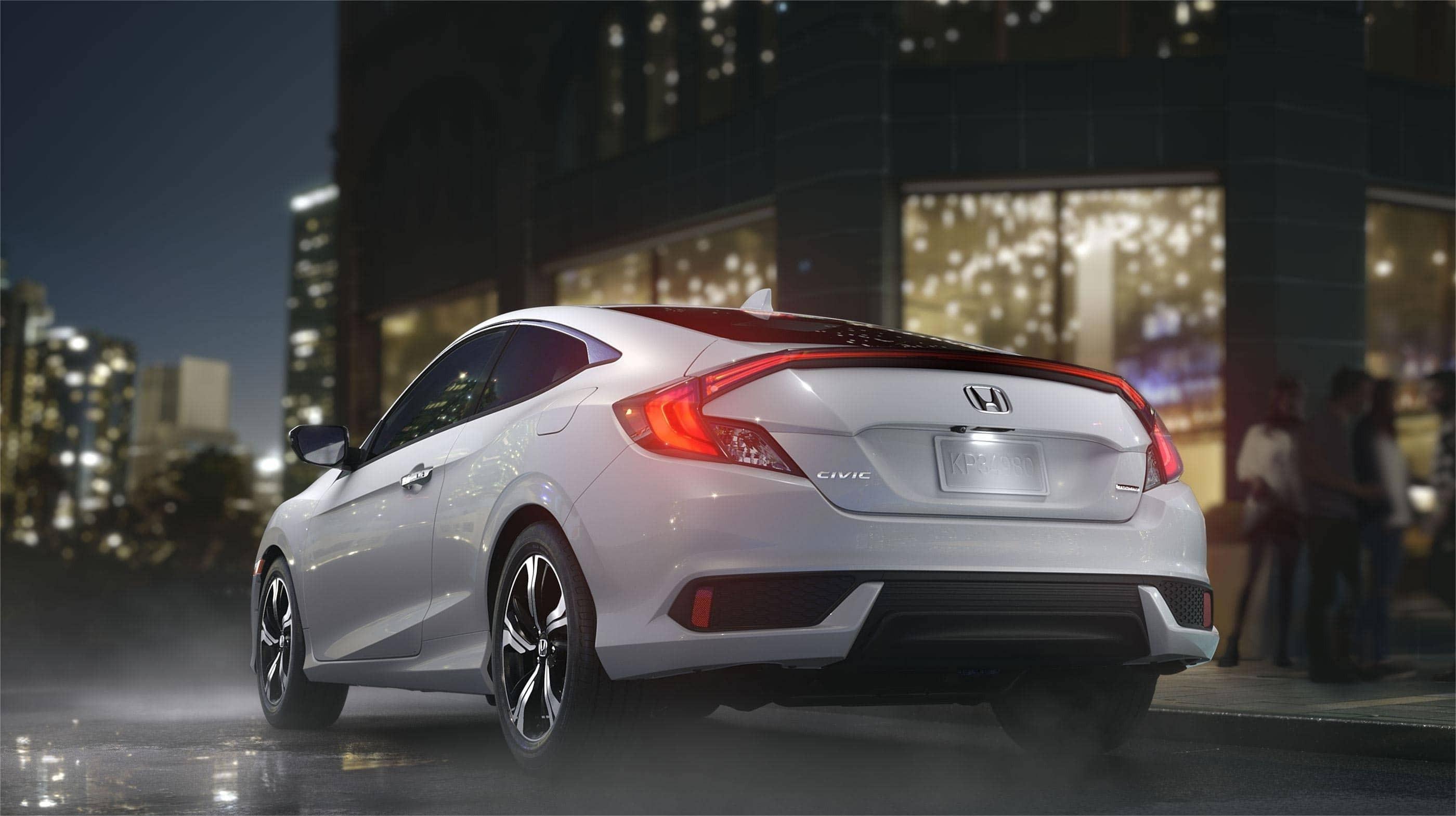 2017 Honda Civic Coupe White Rear Exterior