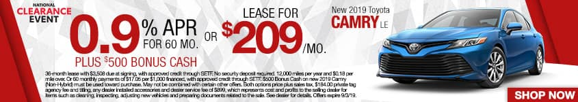 New 2019 Toyota Camry LE | 0.9% APR For 60 Months Plus $500 Bonus Cash OR Lease For $209 A Month