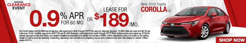 New 2020 Toyota Corolla LE | 0.9% APR For 60 Months OR Lease For $189 A Month