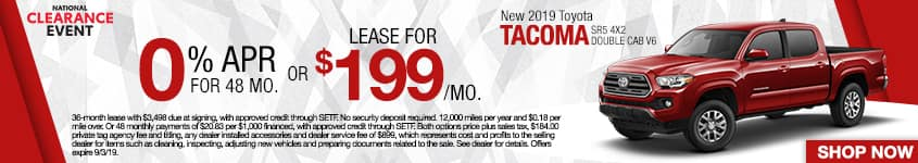 New 2019 Toyota Tacoma SR5 4x2 Double Cab V6 | 0% APR For 48 Months OR Lease For $199 A Month