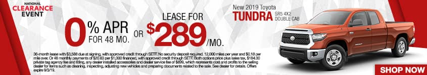 New 2019 Toyota Tundra SR5 4x2 Double Cab | 0% APR For 48 Months OR Lease For $289 A Month