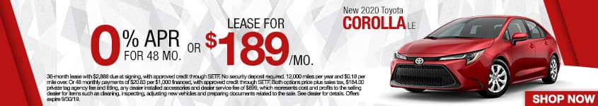 New 2020 Toyota Corolla LE | 0% APR For 48 Months OR Lease For $189/Mo